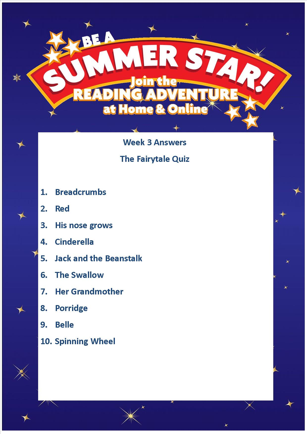 Thurles Library's Summer Stars Quiz – Week 3 Answers