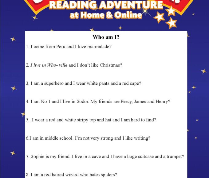 Thurles Library's Summer Stars Quiz: Week 1