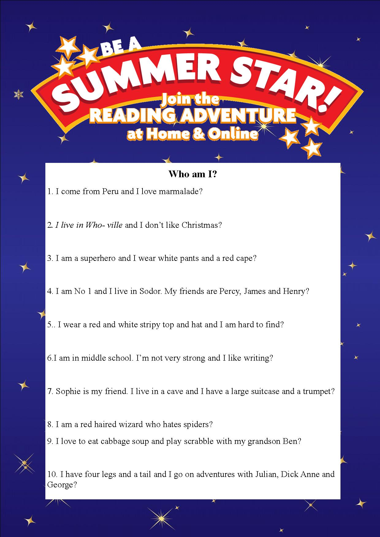 Thurles Library's Summer Stars Quiz: Week 1