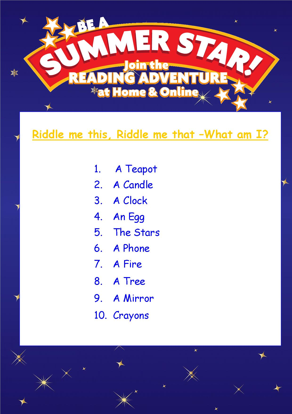 Thurles Library's Summer Stars Quiz – Week 4 Answers