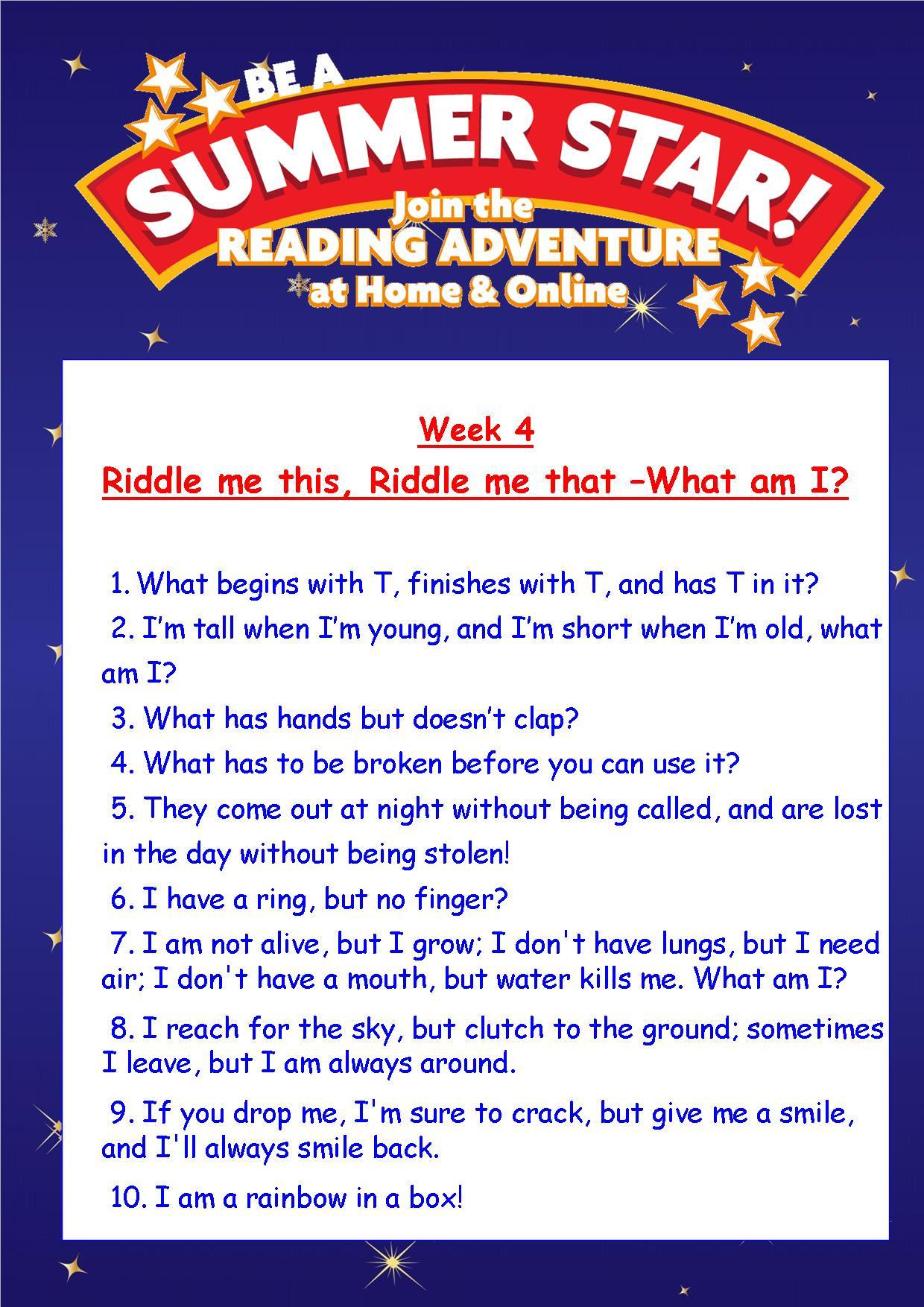 Thurles Library's Summer Stars Quiz – Week 4