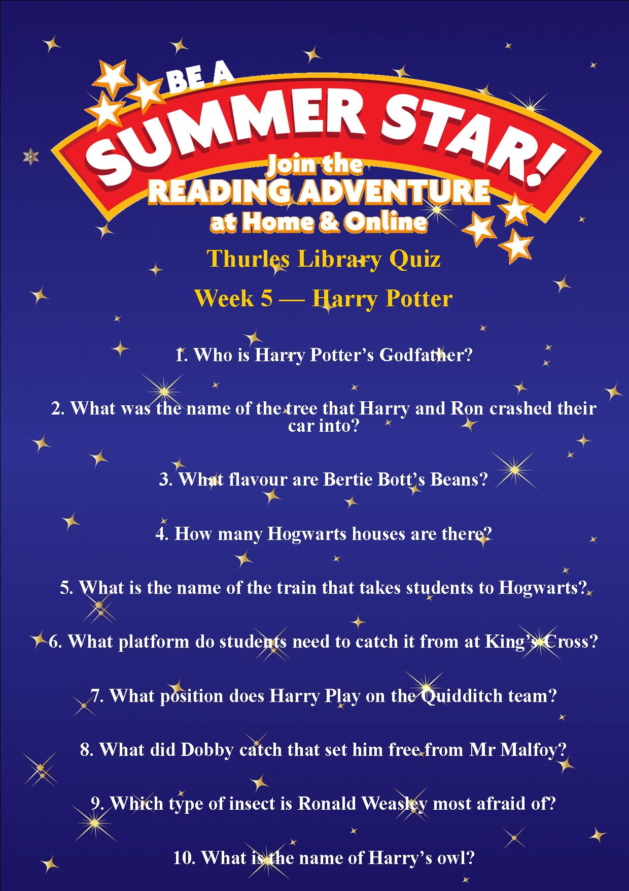 Thurles Library's Summer Stars Quiz – Week 5