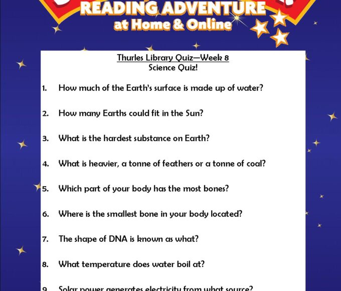 Thurles Library's Summer Stars Quiz – Week 8