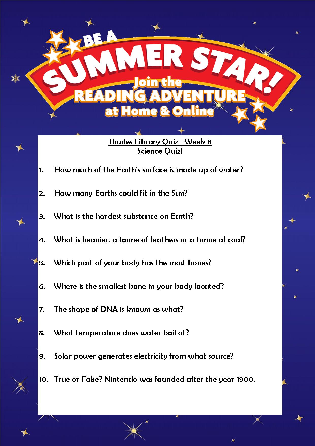 Thurles Library's Summer Stars Quiz – Week 8