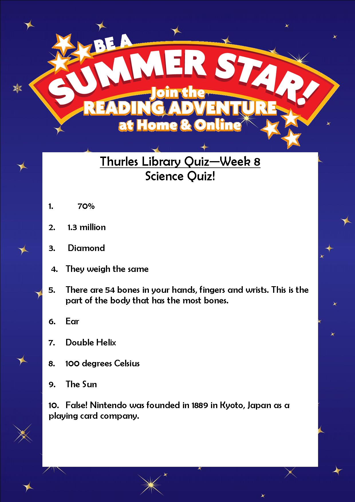 Thurles Library's Summer Stars Quiz – Week 8 Answers