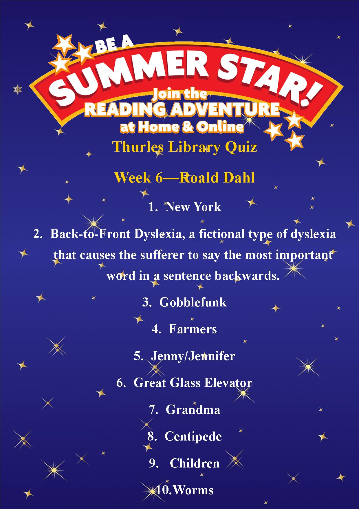 Thurles Library's Summer Stars Quiz – Week 6 Answers