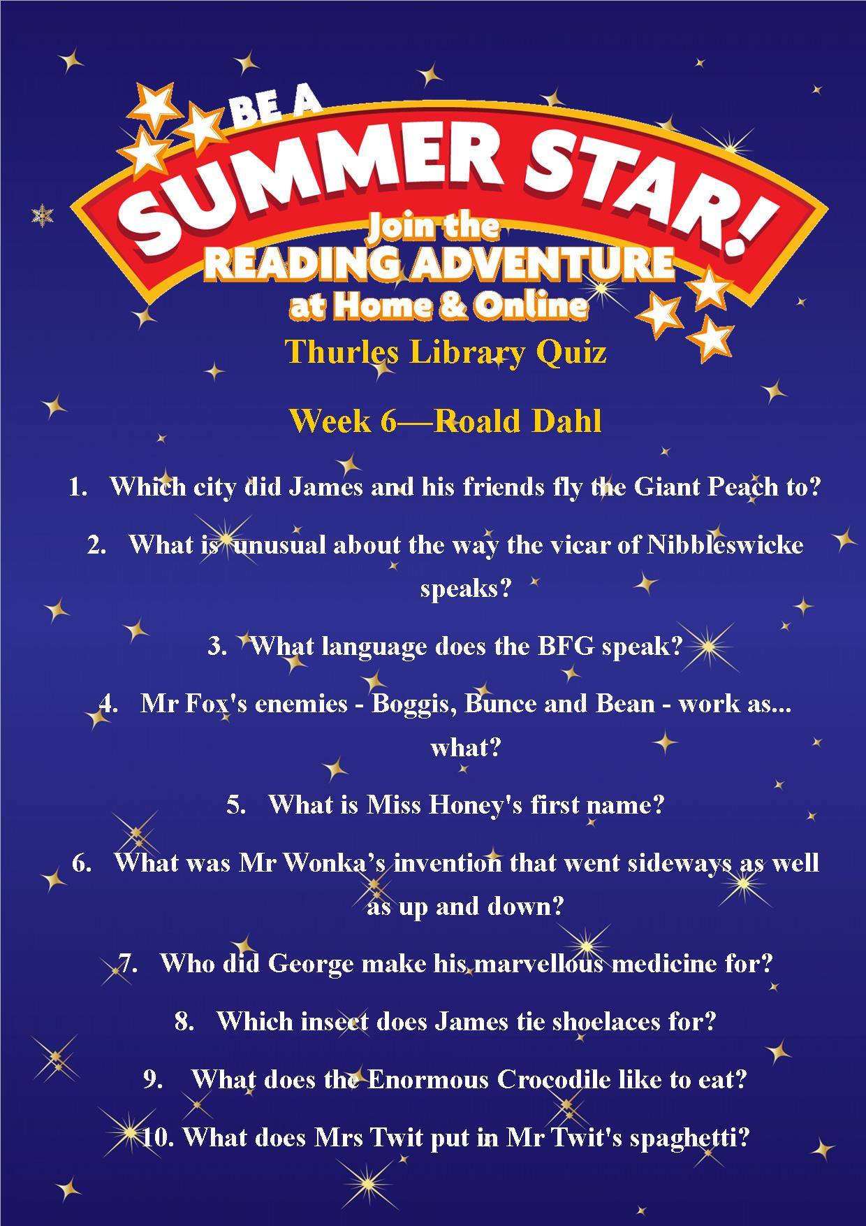 Thurles Library's Summer Stars Quiz – Week 6