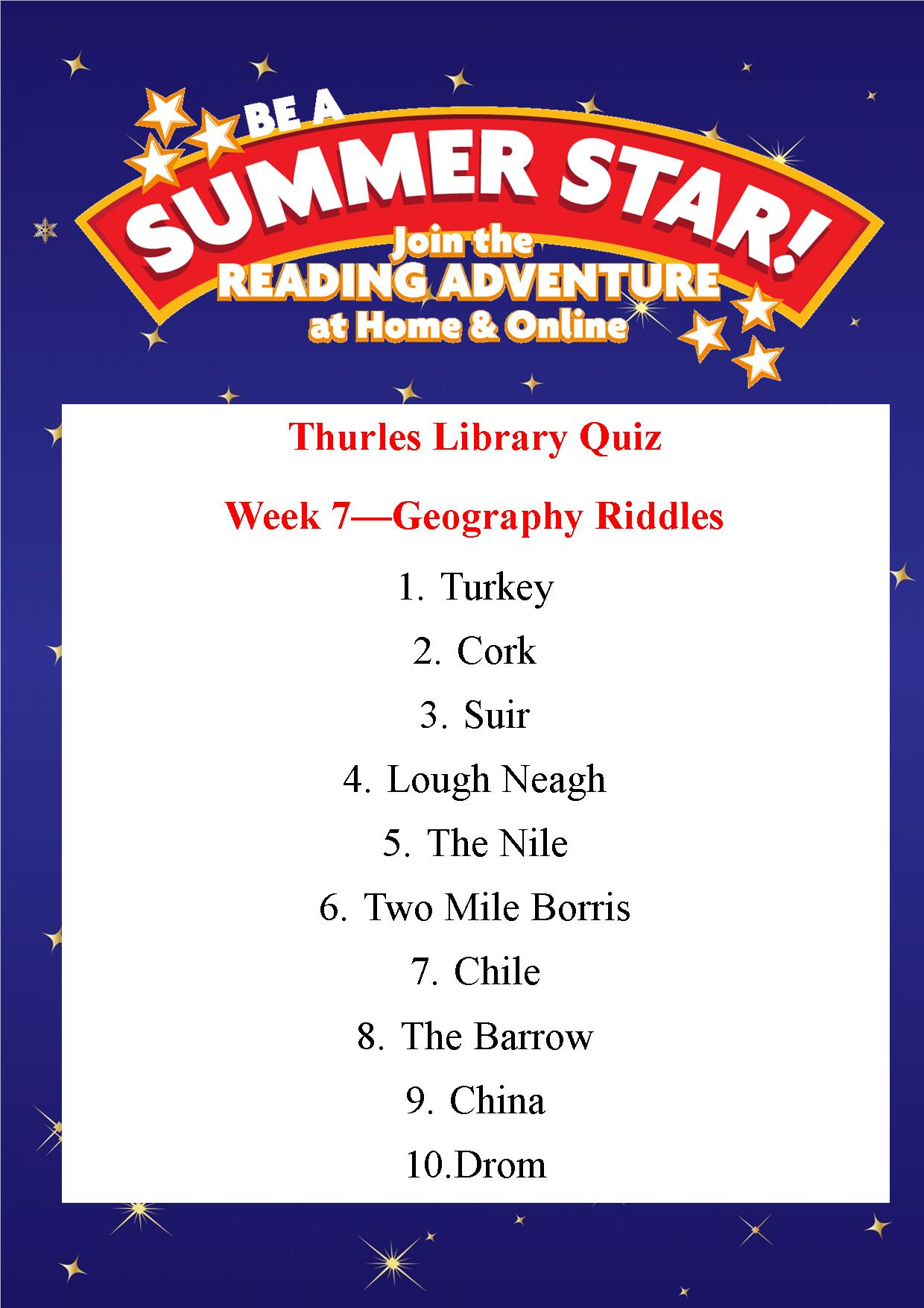 Thurles Library Summer Stars Quiz – Week 7 Answers