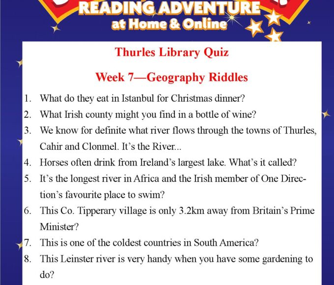 Thurles Library's Summer Stars Quiz – Week 7