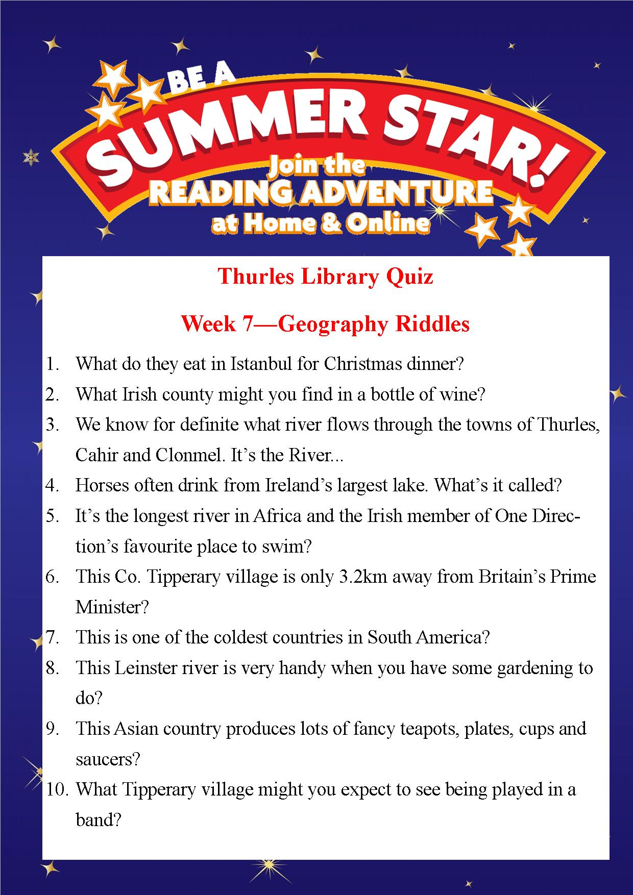 Thurles Library's Summer Stars Quiz – Week 7
