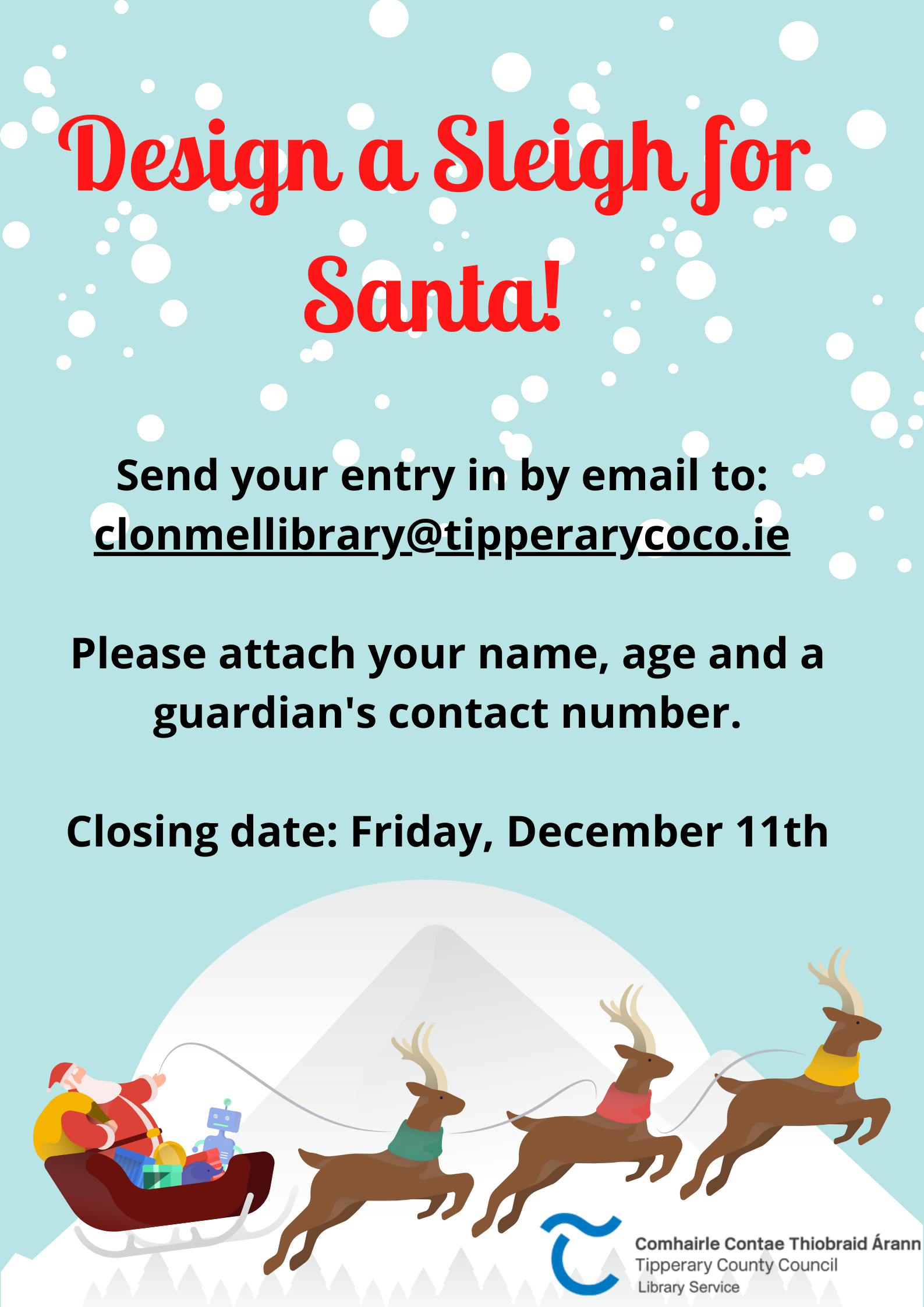 Design A Sleigh for Santa (Art Competition)