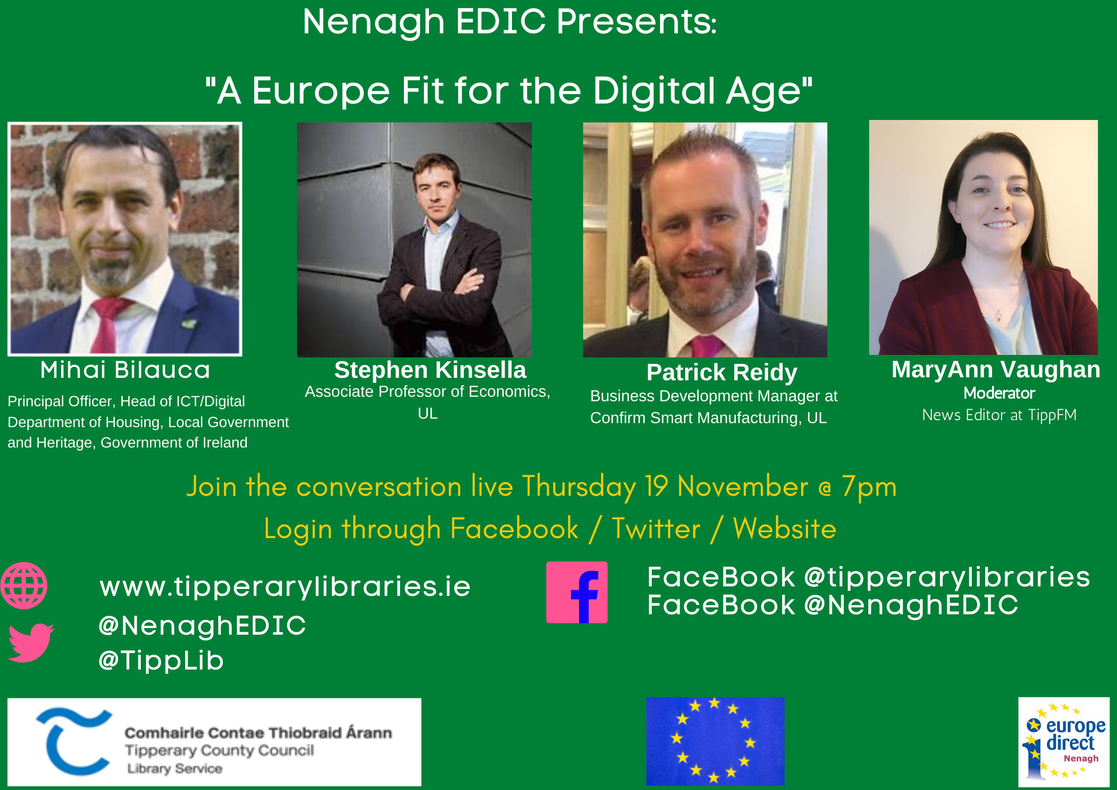 'A Europe Fit For The Digital Age': Nenagh EDIC Online Talk  Thursday 19th November At 7pm