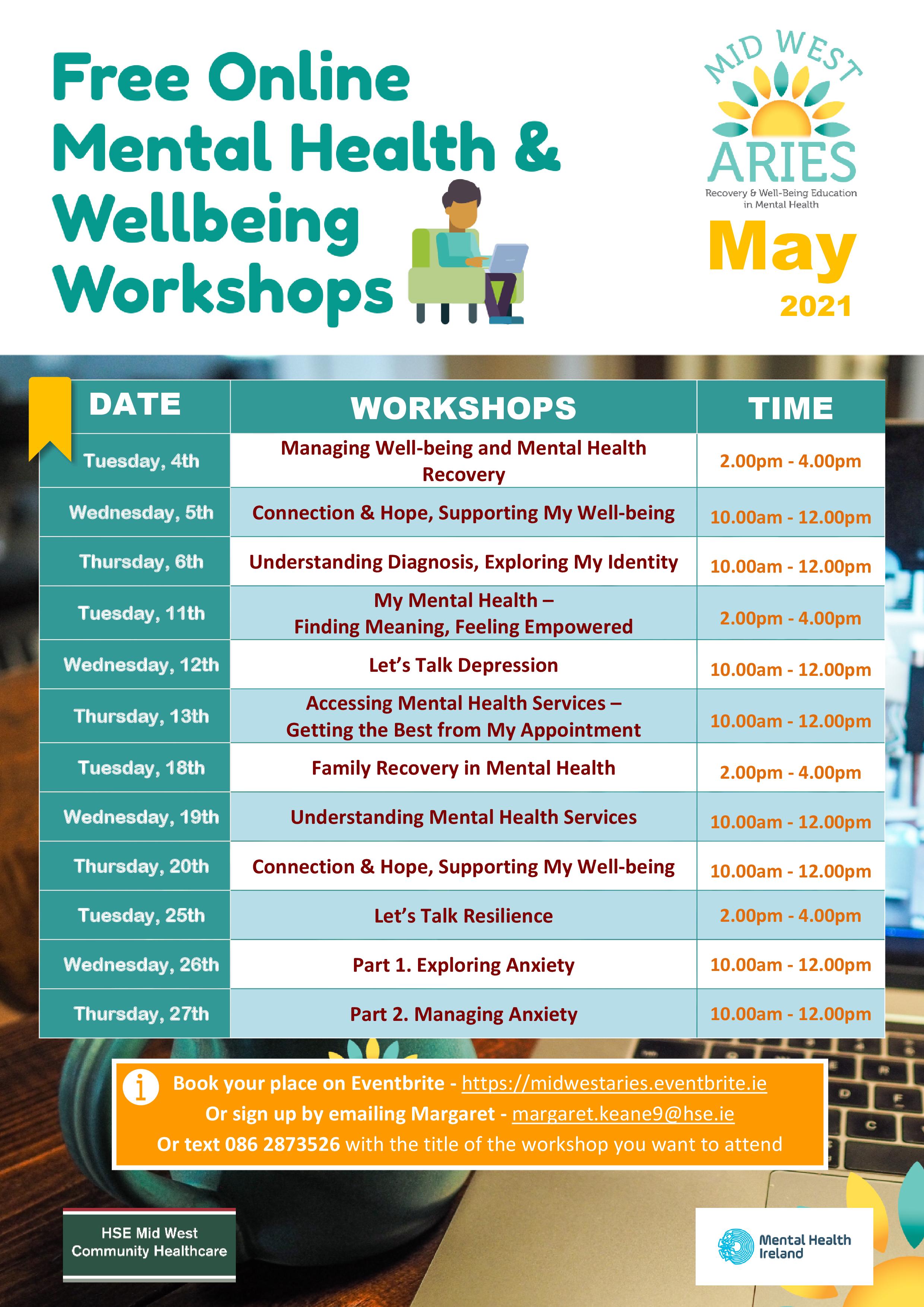 Calendar Of FREE May Workshops